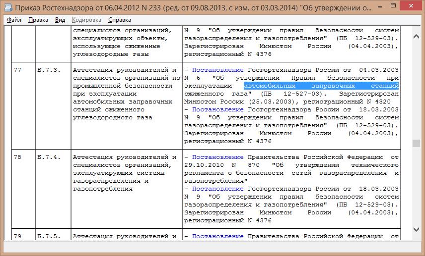 Приказом ростехнадзора от 06.04.2012 233 об утверждении областей аттестации