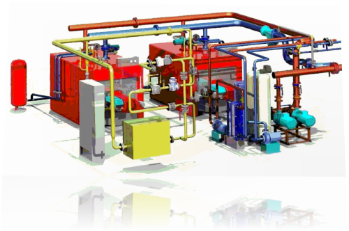 3D схема модульной котельной