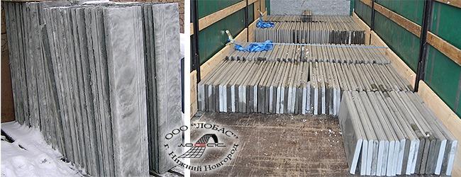 Хранение на складе накладных проступей (фото слева) и погрузка проступей в полуприцеп фуры (фотография справа)